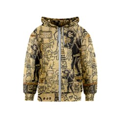 Mystery Pattern Pyramid Peru Aztec Font Art Drawing Illustration Design Text Mexico History Indian Kids  Zipper Hoodie
