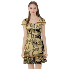 Mystery Pattern Pyramid Peru Aztec Font Art Drawing Illustration Design Text Mexico History Indian Short Sleeve Skater Dress