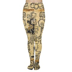 Mystery Pattern Pyramid Peru Aztec Font Art Drawing Illustration Design Text Mexico History Indian Women s Tights