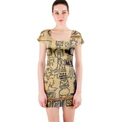 Mystery Pattern Pyramid Peru Aztec Font Art Drawing Illustration Design Text Mexico History Indian Short Sleeve Bodycon Dress