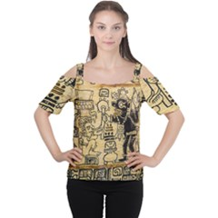 Mystery Pattern Pyramid Peru Aztec Font Art Drawing Illustration Design Text Mexico History Indian Cutout Shoulder Tee