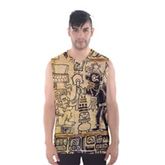 Mystery Pattern Pyramid Peru Aztec Font Art Drawing Illustration Design Text Mexico History Indian Men s Basketball Tank Top