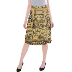 Mystery Pattern Pyramid Peru Aztec Font Art Drawing Illustration Design Text Mexico History Indian Midi Beach Skirt