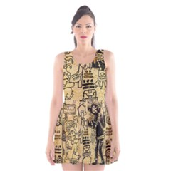 Mystery Pattern Pyramid Peru Aztec Font Art Drawing Illustration Design Text Mexico History Indian Scoop Neck Skater Dress