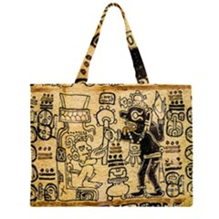 Mystery Pattern Pyramid Peru Aztec Font Art Drawing Illustration Design Text Mexico History Indian Zipper Large Tote Bag