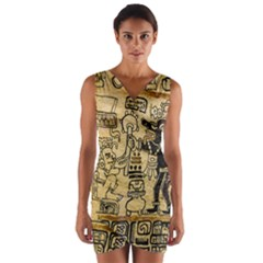 Mystery Pattern Pyramid Peru Aztec Font Art Drawing Illustration Design Text Mexico History Indian Wrap Front Bodycon Dress