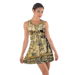 Mystery Pattern Pyramid Peru Aztec Font Art Drawing Illustration Design Text Mexico History Indian Cotton Racerback Dress