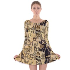 Mystery Pattern Pyramid Peru Aztec Font Art Drawing Illustration Design Text Mexico History Indian Long Sleeve Velvet Skater Dress