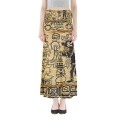 Mystery Pattern Pyramid Peru Aztec Font Art Drawing Illustration Design Text Mexico History Indian Full Length Maxi Skirt