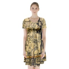 Mystery Pattern Pyramid Peru Aztec Font Art Drawing Illustration Design Text Mexico History Indian Short Sleeve V-neck Flare Dress