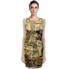 Mystery Pattern Pyramid Peru Aztec Font Art Drawing Illustration Design Text Mexico History Indian Classic Sleeveless Midi Dress
