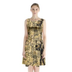 Mystery Pattern Pyramid Peru Aztec Font Art Drawing Illustration Design Text Mexico History Indian Sleeveless Waist Tie Chiffon Dress