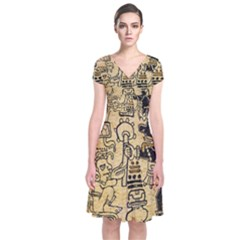 Mystery Pattern Pyramid Peru Aztec Font Art Drawing Illustration Design Text Mexico History Indian Short Sleeve Front Wrap Dress