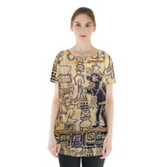 Mystery Pattern Pyramid Peru Aztec Font Art Drawing Illustration Design Text Mexico History Indian Skirt Hem Sports Top