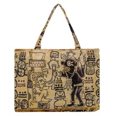 Mystery Pattern Pyramid Peru Aztec Font Art Drawing Illustration Design Text Mexico History Indian Zipper Medium Tote Bag