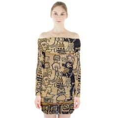 Mystery Pattern Pyramid Peru Aztec Font Art Drawing Illustration Design Text Mexico History Indian Long Sleeve Off Shoulder Dress