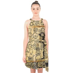 Mystery Pattern Pyramid Peru Aztec Font Art Drawing Illustration Design Text Mexico History Indian Halter Collar Waist Tie Chiffon Dress