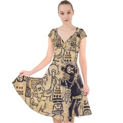 Mystery Pattern Pyramid Peru Aztec Font Art Drawing Illustration Design Text Mexico History Indian Cap Sleeve Front Wrap Midi Dress
