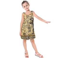 Mystery Pattern Pyramid Peru Aztec Font Art Drawing Illustration Design Text Mexico History Indian Kids  Sleeveless Dress