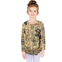 Mystery Pattern Pyramid Peru Aztec Font Art Drawing Illustration Design Text Mexico History Indian Kids  Long Sleeve Tee