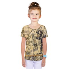 Mystery Pattern Pyramid Peru Aztec Font Art Drawing Illustration Design Text Mexico History Indian Kids  One Piece Tee