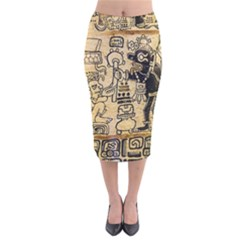 Mystery Pattern Pyramid Peru Aztec Font Art Drawing Illustration Design Text Mexico History Indian Velvet Midi Pencil Skirt