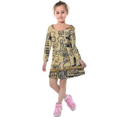 Mystery Pattern Pyramid Peru Aztec Font Art Drawing Illustration Design Text Mexico History Indian Kids  Long Sleeve Velvet Dress