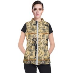 Mystery Pattern Pyramid Peru Aztec Font Art Drawing Illustration Design Text Mexico History Indian Women s Puffer Vest
