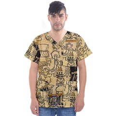 Mystery Pattern Pyramid Peru Aztec Font Art Drawing Illustration Design Text Mexico History Indian Men s V-Neck Scrub Top