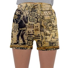 Mystery Pattern Pyramid Peru Aztec Font Art Drawing Illustration Design Text Mexico History Indian Sleepwear Shorts