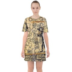Mystery Pattern Pyramid Peru Aztec Font Art Drawing Illustration Design Text Mexico History Indian Sixties Short Sleeve Mini Dress
