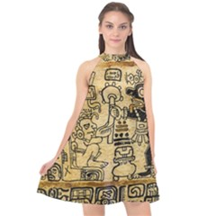 Mystery Pattern Pyramid Peru Aztec Font Art Drawing Illustration Design Text Mexico History Indian Halter Neckline Chiffon Dress