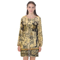 Mystery Pattern Pyramid Peru Aztec Font Art Drawing Illustration Design Text Mexico History Indian Long Sleeve Chiffon Shift Dress
