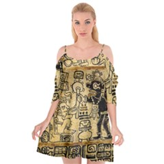 Mystery Pattern Pyramid Peru Aztec Font Art Drawing Illustration Design Text Mexico History Indian Cutout Spaghetti Strap Chiffon Dress