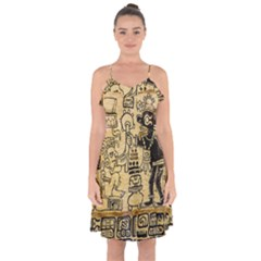 Mystery Pattern Pyramid Peru Aztec Font Art Drawing Illustration Design Text Mexico History Indian Ruffle Detail Chiffon Dress
