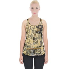 Mystery Pattern Pyramid Peru Aztec Font Art Drawing Illustration Design Text Mexico History Indian Piece Up Tank Top