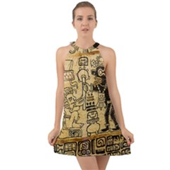Mystery Pattern Pyramid Peru Aztec Font Art Drawing Illustration Design Text Mexico History Indian Halter Tie Back Chiffon Dress