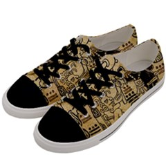 Mystery Pattern Pyramid Peru Aztec Font Art Drawing Illustration Design Text Mexico History Indian Men s Low Top Canvas Sneakers