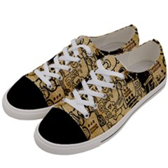 Mystery Pattern Pyramid Peru Aztec Font Art Drawing Illustration Design Text Mexico History Indian Women s Low Top Canvas Sneakers