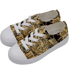 Mystery Pattern Pyramid Peru Aztec Font Art Drawing Illustration Design Text Mexico History Indian Kids  Low Top Canvas Sneakers