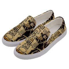 Mystery Pattern Pyramid Peru Aztec Font Art Drawing Illustration Design Text Mexico History Indian Men s Canvas Slip Ons