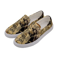Mystery Pattern Pyramid Peru Aztec Font Art Drawing Illustration Design Text Mexico History Indian Women s Canvas Slip Ons
