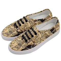 Mystery Pattern Pyramid Peru Aztec Font Art Drawing Illustration Design Text Mexico History Indian Women s Classic Low Top Sneakers