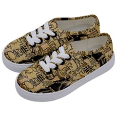Mystery Pattern Pyramid Peru Aztec Font Art Drawing Illustration Design Text Mexico History Indian Kids  Classic Low Top Sneakers