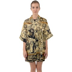 Mystery Pattern Pyramid Peru Aztec Font Art Drawing Illustration Design Text Mexico History Indian Quarter Sleeve Kimono Robe
