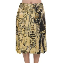 Mystery Pattern Pyramid Peru Aztec Font Art Drawing Illustration Design Text Mexico History Indian Velvet Flared Midi Skirt