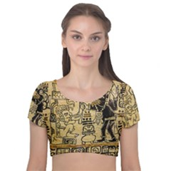 Mystery Pattern Pyramid Peru Aztec Font Art Drawing Illustration Design Text Mexico History Indian Velvet Short Sleeve Crop Top