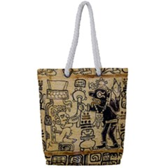Mystery Pattern Pyramid Peru Aztec Font Art Drawing Illustration Design Text Mexico History Indian Full Print Rope Handle Bag (Small)