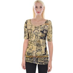 Mystery Pattern Pyramid Peru Aztec Font Art Drawing Illustration Design Text Mexico History Indian Wide Neckline Tee by Celenk
