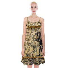 Mystery Pattern Pyramid Peru Aztec Font Art Drawing Illustration Design Text Mexico History Indian Spaghetti Strap Velvet Dress by Celenk